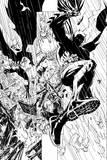 Batman: Batman Panels - a Fight Scene in the Rain - in Black and White Posters