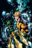 Justice League: Aquaman Surrounded by Sharp Teeth under Water Print