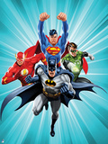 Justice League: Batman with Superman, Green Lantern, Flash with Blue Background Photo