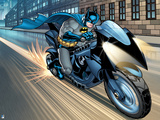 Batman: Batman Riding Through Gotham City on a Motorcycle at Night with His Cape Flowing Behind Him Print