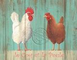 Le Coq et la Poule Wood Sign
