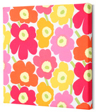 Marimekko®  Mini-Unikko Fabric Panel - Yel/Org/Pink 13x13 Stretched Fabric Panel