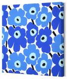 Marimekko®  Mini-Unikko Fabric Panel - Blue 13x13 Stretched Fabric Panel
