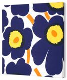 Marimekko®  Unikko Fabric Panel - Indigo/Yel Pieni 13x13 Stretched Fabric Panel