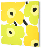 Marimekko®  Unikko Fabric Panel - Lime/Yel Pieni 15x15 Stretched Fabric Panel