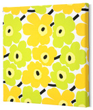 Marimekko®  Mini-Unikko Fabric Panel - Lime/Yellow 13x13 Stretched Fabric Panel