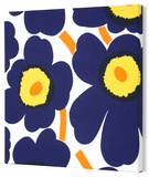 Marimekko®  Unikko Fabric Panel - Indigo/Yel Pieni 15x15 Stretched Fabric Panel