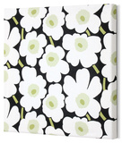 Marimekko®  Mini-Unikko Fabric Panel - Blk/Wht/Grn 13x13 Stretched Fabric Panel