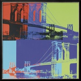 Brooklyn Bridge, c.1983 (Orange, Blue, Lime) Framed Giclee Print by Andy Warhol