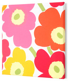 Marimekko®  Unikko Fabric Panel - Yel/Org/Pink Pieni 15x15 Stretched Fabric Panel