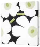 Marimekko®  Unikko Fabric Panel - Blk/Wht/Grn Pieni 15x15 Stretched Fabric Panel