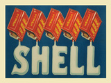 Shell Red Cans Cartel de chapa