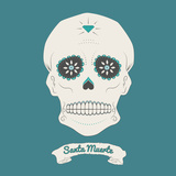 Illustration of a Mexican Skull, Sugar Skull Póster por ColourStudio it