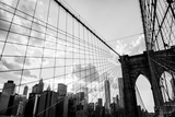 New York City, Brooklyn Bridge Skyline Black and White Fotografisk tryk af  bukovski