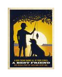 Boy and Dog Giclee Print