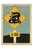 Dragon X-ing Sign Print
