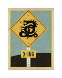 Dragon X-ing Sign Giclee Print