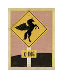 Unicorn X-ing Sign Giclee Print