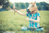 Horse Mask Unreal Hipster Woman Using Technology Photographic Print by Eugenio Marongiu