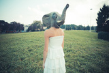 Elephant Mask Beautiful Young Woman with White Dress Photographic Print by Eugenio Marongiu