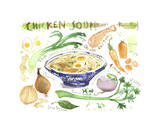 Chicken Soup Recipe Giclee Print by Lucile Prache