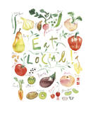 Eat Local Giclee Print by Lucile Prache