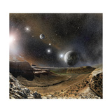 Landscape Mountains and Cosmos Space Premium Giclee Print by  dracozlat