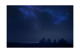 City Landscape at Night with Star Filled Sky, Nebula and Galaxy Print by  pixel