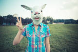 Rabbit Mask Absurd Beautiful Young Hipster Woman Photographic Print by Eugenio Marongiu