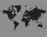 World Map - Black and Silver Prints