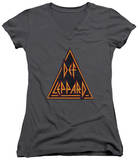 Juniors: Def Leppard - Distressed Logo V-Neck T-Shirt