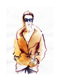 Woman in Coat. Hand Painted Fashion Illustration Art by Anna Ismagilova
