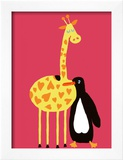 Love Between a Giraffe and a Penguin Print by Andree Prigent