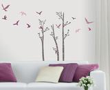 Birchs and Birds - Duvar Çıkartması