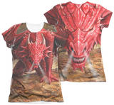 Juniors: Anne Stokes - Dragon's Lair (Front - Back Print) T-Shirt