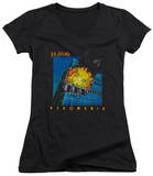 Juniors: Def Leppard - Pyromania V-Neck T-shirts