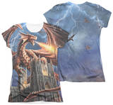 Juniors: Anne Stokes - Dragon's Fury (Front - Back Print) T-shirts