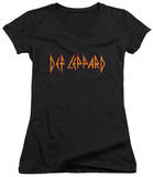 Juniors: Def Leppard - Horizontal Logo V-Neck T-Shirt