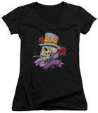 Juniors: Poison - Classic Skull V-Neck T-shirts
