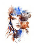 Beautiful Woman Face. Watercolor Illustration Posters by Anna Ismagilova