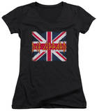 Juniors: Def Leppard - Union Jack V-Neck T-shirts