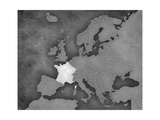 Map of Europe - France (B&W) Poster by  Tindo