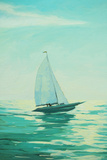 Sailing Boat in the Morning Sea, Painting, Illustration Print by Mikhail Zahranichny