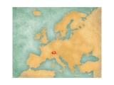 Map of Europe - Switzerland (Summer Style) Posters by  Tindo