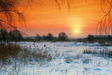 Rural Winter Snowy Landscape at Sunset Photographic Print by  vvvita