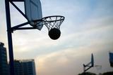Hoops Basketball Game on the Streets Ring with a Net Fotografisk trykk av  olegmalyshev