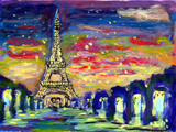 Oil Painting Sunset Paris Poster by  jim80