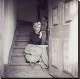 Marilyn Sitting On Stretched Canvas Print