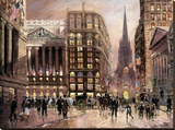 Wall Street 1890 Stretched Canvas Print by Robert Lebron