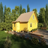 A Bright Yellow Painted Outhouse/Bathroom Photographic Print by  sanchopancho